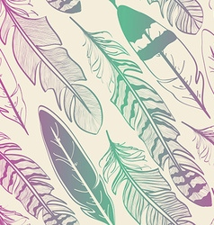 Seamless pattern bird feathers vector