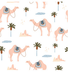 seamless pattern with camels in desert creative vector image