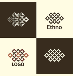 Set collection endless knot or eternal knot vector