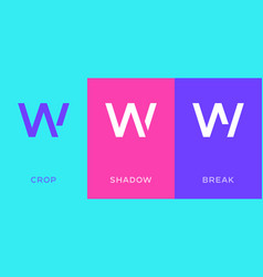 set letter w minimal logo icon design template vector image
