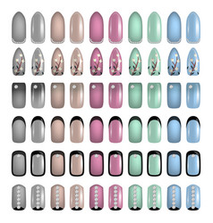 Set of colored painted nails manicure nail vector