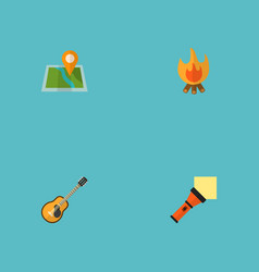 Set of encampment icons flat style symbols with vector