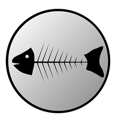 Skeleton of fish button vector image