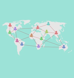 Social connection on world map with people icons - vector