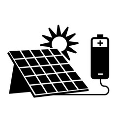 solar panel battery icon simple style vector image