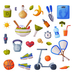 sports and healthy lifestyle set fitness and vector image