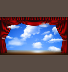 Stage with cloudscape vector