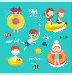 summer kids set swimming diving playing and vector image
