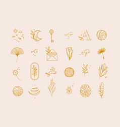Symbols flat light beige vector