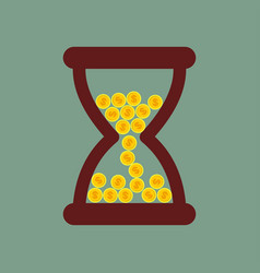 time is money hourglass with gold coins vector image