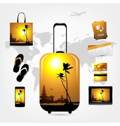 Travel suitcase with trip things tropical style vector