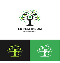 Tree house green negative space logo vector
