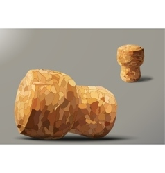 Two champagne cork lying and standing vector