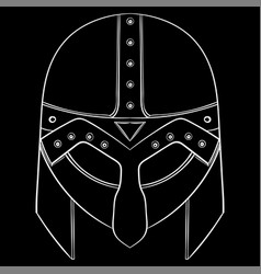 viking helmet outline white icon on black vector image