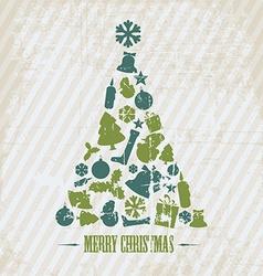 Vintage Grunge Christmas tree vector image