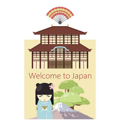 welcome to japan poster banner vector image