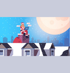 woman in santa claus costume sitting on chimney vector image