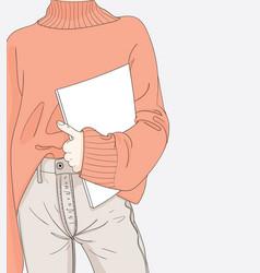 Women read her favorite magazines vector