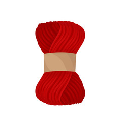 Yarn of red woolen threads with paper label vector