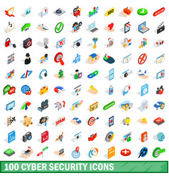 100 cyber security icons set isometric 3d style vector image