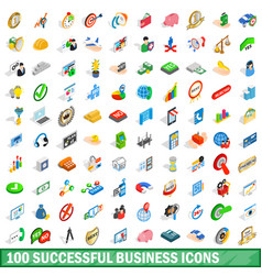 100 successful business icons set isometric style vector image