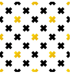 black and gold crosses geometric seamless pattern vector image vector image