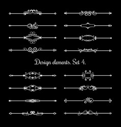 calligraphic page dividers floral ornamental vector image