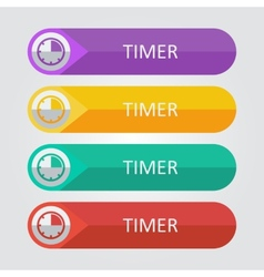 flat buttons timer vector image vector image
