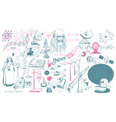hand drawn scientific icons collection vector image