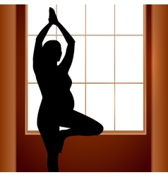 Pregnant woman in yoga position vector image vector image