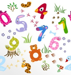 Seamless pattern of cartoon numbers like animals vector image