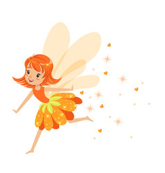 beautiful smiling orange fairy girl flying vector image vector image