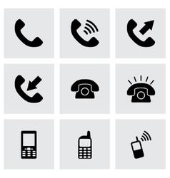black telephone icon set vector image vector image