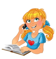 Blond girl and phone and book vector image