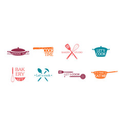 cooking emblems and logos set vector image