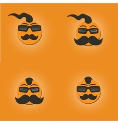 Funny faces with a mustache vector