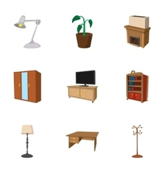 Furniture icons set cartoon style vector image vector image