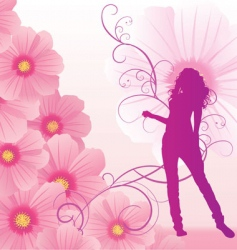 pink cosmos flowers girl dance vector image vector image