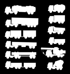 set of silhouettes the cargo trucks vector image