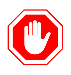 stop do not enter stop red sign with hand vector image