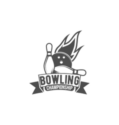 bowling emblem label badge and designed elements vector image vector image