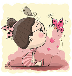cute cartoon girl with bird and butterfly vector image vector image