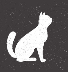 Hand drawn whit cat vector