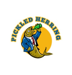 Herring fish business suit drinking beer bottle vector image vector image