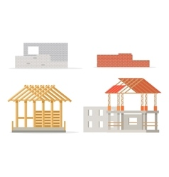 Industrial Process of Building New House Stages vector image vector image
