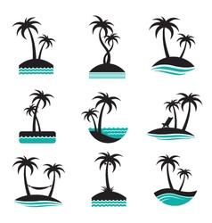 palm labels set vector image vector image