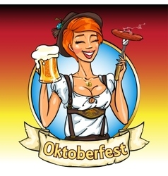 Pretty Bavarian girl with beer and smoking sausage vector image