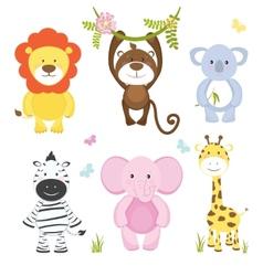 Set of cute cartoon wild animals vector image