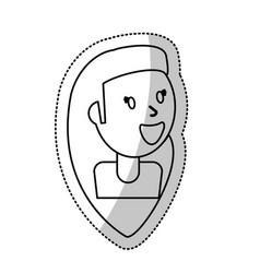 smiling girl female outline vector image vector image