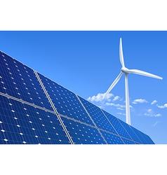 Solar panel and wind turbine vector image